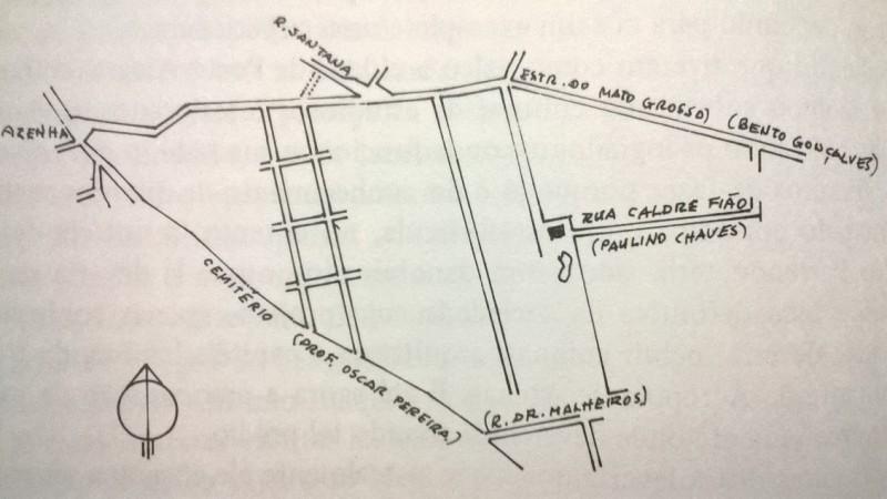 Mapa indica local em que seria construída a nova sede do Partenon. Imagem retirada do livro de Francisco Riopardense de Macedo.