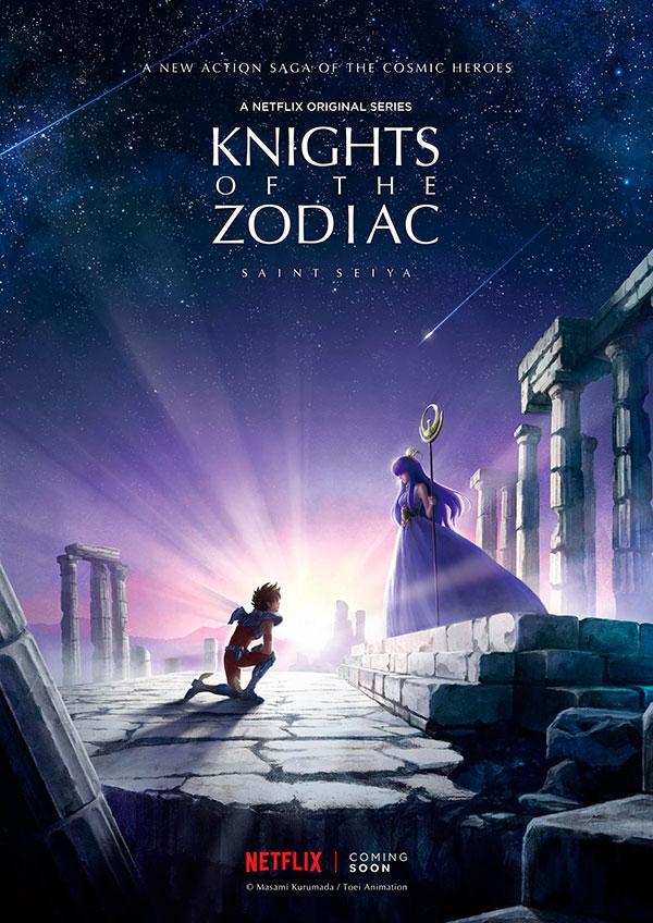 seiya ajoelhado em frente a atena em poster na netflix para divulgação da nova série dos cavaleiros do zodíaco